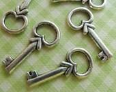 Skeleton Keys Tibetan Silver Charms (6) TS42
