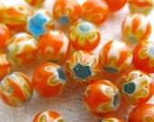 Orange and Blue Round Millefiori Beads (25) M4