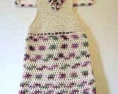Crochet Girls Multi-color Dress sized for 4 to 6 years of age Off White, Pinks, Olive Green