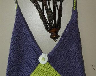 BOGO sale on this item   Vintage Retro design Crochet bag, laptop carry bag, tote bag Purple, Lime Green