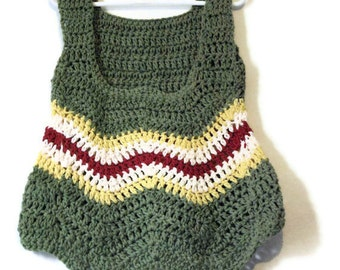 UNIQUE GIRLS  Crochet girls top sized for 6-8 year old hand made one of a kind Sage Green Yellow Country Red and Cream