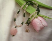 Rosequartz and Green Tourmaline Necklace with Pendant ./. Pink Necklace with Pendant