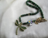 Dragonfly,  Flowers and Green Gemstone Necklace