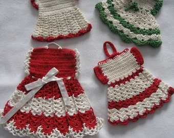 Crochet red and green dress potholders