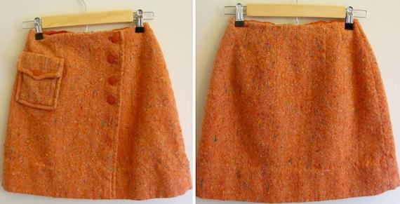 Vintage Bobbie Brooks 1960s Mod Wool Wrap Mini Skirt  / Orange Multi-Colored / Extra-Small - Small