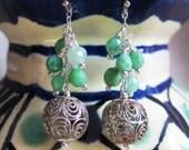 Vintage silver filigree & green jade earrings
