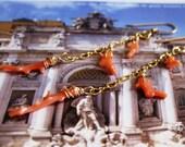 Vintage Coral Branch Gold Mermaid Dangle Earrings