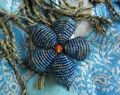 Beautiful Antique Inspired Iris Blue French Beaded Flower Hair Clip