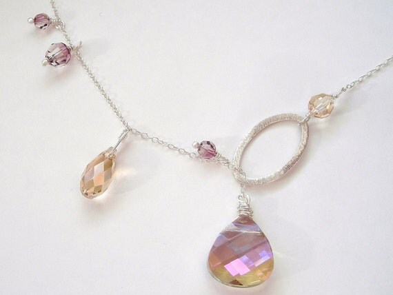 Purple Haze, Golden Shadow and Antique Pink Swarovski Crystal and Sterling Silver Lariat Necklace