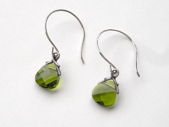 Green Swarovski Crystal and Sterling Silver Earrings, free shipping