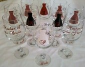 10 Personalized bridesmaids wine glasses, wedding party, mother of the bride and groom. Black and red