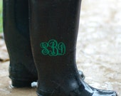 Rain boot decals, Personalized vinyl monogram set of 2 for rainboots, wedding favors, wine glasses, laptop or cell phone