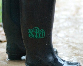 Rain boot decals, Personalized vinyl monogram set of 2 for rainboots, wedding favors, wine glasses, laptop, cell phone decal. Wedding decal