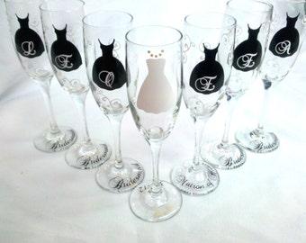 Bridesmaids champagne flutes, Black tank dress glasses,  bridesmaid gift ideas.  Bridesmaid gift, Bridesmaids flute glasses. White swirls