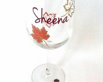 Fall wine glass. Autumn wedding wine glasses. fall leaves, personalized wine glasses, best friend glasses. Its fall yall, pumpkin spice love