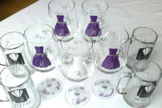 Wedding party wine glasses and beer mugs, Personalized Bridesmaids gifts and Groomsmen gifts Set of 12.  Purple wedding gifts. Best man gift