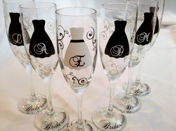 ... Personalized wedding glasses in black and white wedding colors, great