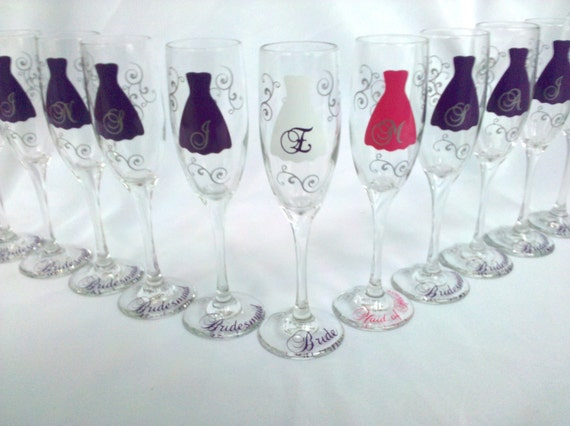 Maid Of Honor Gifts From Bride: 11 Bride And Bridesmaids Champagne Glasses Personalized
