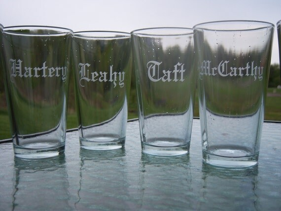 5 Groomsmen Etched pint glass, beer glass mug, Best man gift, Groomsman gift, beer glasses, sand blasted, engraved Personalized etched glass