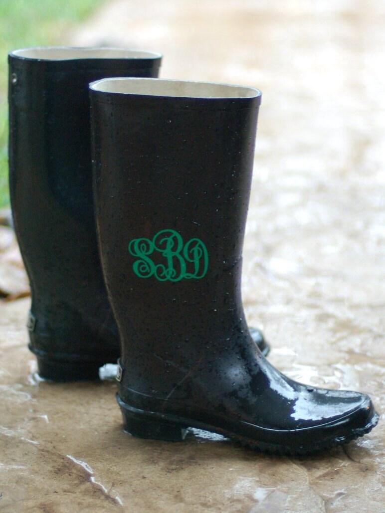 rain boot decals personalized vinyl monogram set of 2 for
