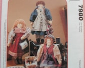 "Rag Doll Pattern - The Sewing Sisters - 18"" Tall - Three Outfits - Yarn Hair - Vintage Fabrics"