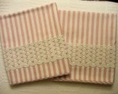 Pillowcases - Handmade - Cotton Blend and Vintage Trim - Pink Stripe