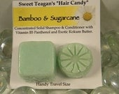 Bamboo & Sugarcane Solid Shampoo And Conditioner Travel Set