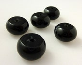 Black Agate Beads, 15mm Rondelle Focal Beads, Three
