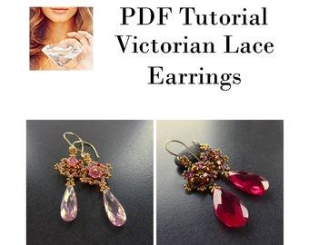 Earring Pattern, Victorian Lace Beaded Earrings, PDF Tutorial