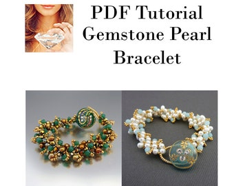 Bracelet PDF Tutorial, Gemstone Beaded Bracelet, Pattern