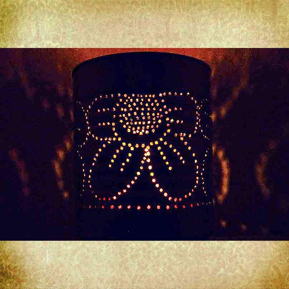 Items similar to punched tin candle holder made to order - Punched metal candle holder ...