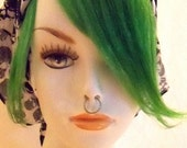 Special Effects Iguana Green Light Bright 100% Human Hair Clip in Bang Fringe Hair Extension