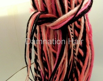 80 Synthetic Dreads Hot Pink Black Dreadlock Hair Extensions or Dread Falls