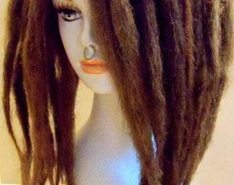30 SE Single Ended Synthetic Dreads Dark Light Medium Brown Dreadlock Braid Hair Extension Custom