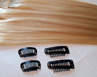 14 inch 100% Human Hair Clip in Extensions Silky Straight Golden Honey Blonde