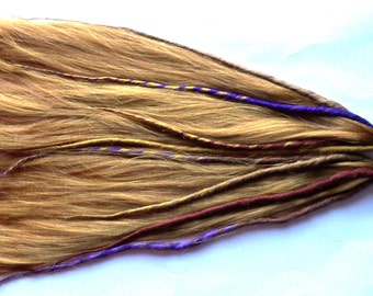 Accent Dreads Dreadlock Pony Tail Falls Hair Extensions Extra Long Light Auburn Strawberry Blonde and Purple