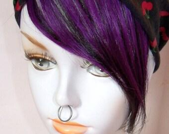 Dark Deep Purple and Black Layered 100% Human Hair Clip in Bang Fringe Hair Extension