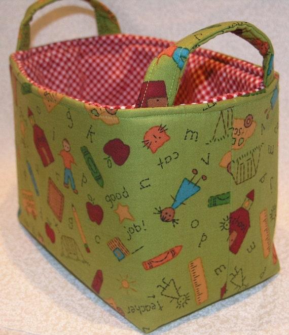 School Days - Teacher Appreciation - Apple - Pencil - Teacher Gift - Home School - Storage Bin - Organizer - Storage Basket - School Work