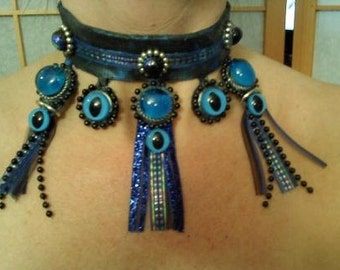 Blue Eyed latex choker necklace