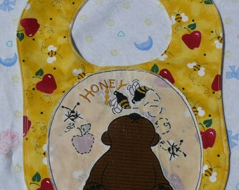 Reversible Baby Bib- Brown Honey Bear With Bees Free Shipping Sale