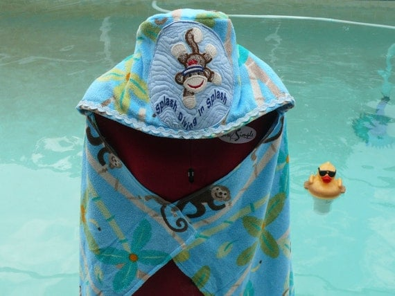 Hooded Towel/ Sock Monkey Swimming/Diving Personalized HOLD for Gillian