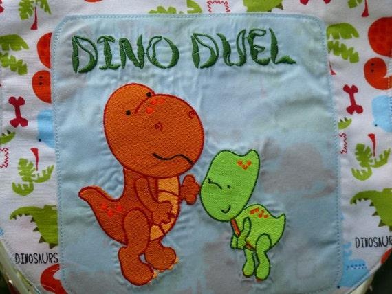 Dinosaur Baby Bib- Dino Duel (meat vs plant eater) Theamed Free Monogramming