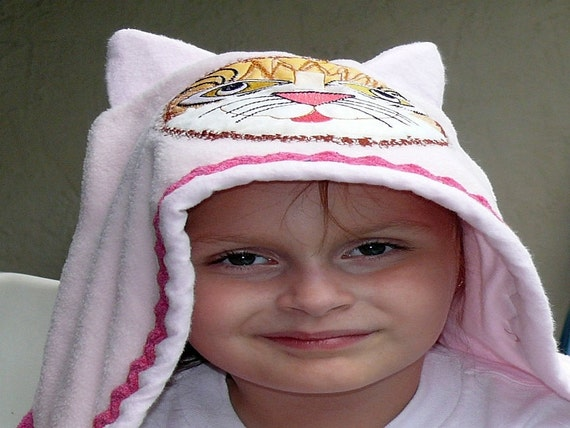 Cat Hooded Towel With Personalized Name on Lined Pocket