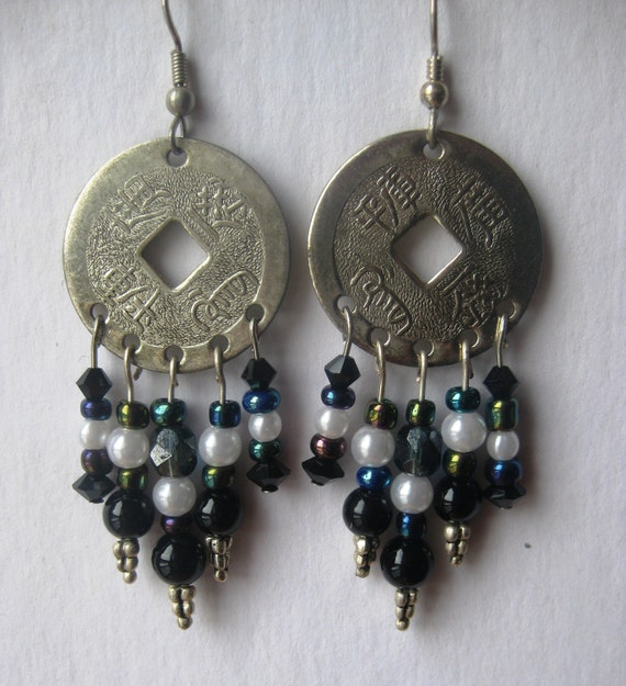 Silver Chinese coin earrings with black onyx , pearls, and crystals, FREE SHIPPING US