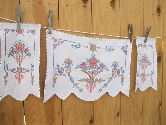 Vintage Embroidered Chair Doilies set