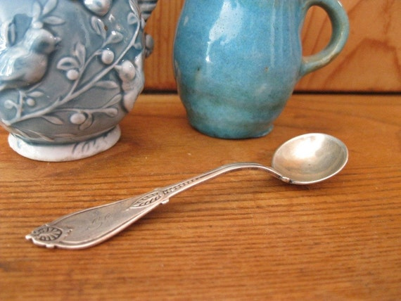 Antique Sterling Silver Salt Spoon by Whiting Mfg. Co. 1871