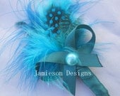 Teal Feather Bow Boutonniere