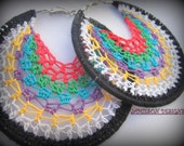 Striped Multi-Colored Crochet H00p Earrings