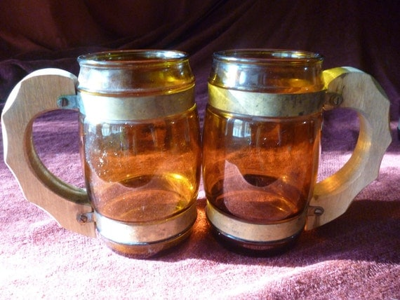 1950s Vintage Barware Rustic Pirate Beer Mugs Amber Colored with Wooden Handles