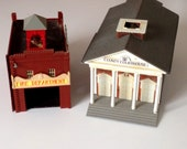 Vintage County Courthouse & Fire Department Model Buildings Power Train Locomotive HO Scale Tyco